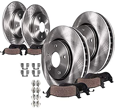 Detroit Axle - Front 280mm Rear 232mm Disc Replacement Brake Rotors Ceramic Pads w/Hardware for 1999-2005 Volkswagen Jetta - [2000-2006 VW Golf] - See Fitment