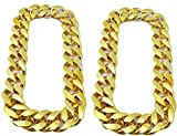 2 Pieces Hip Hop Gold Chain Costume, PinCute 32 Inch Big Chunky Gold Chain for Men, 90s Punk Style Turnover Chain Necklace for Costume Jewelry Rapper