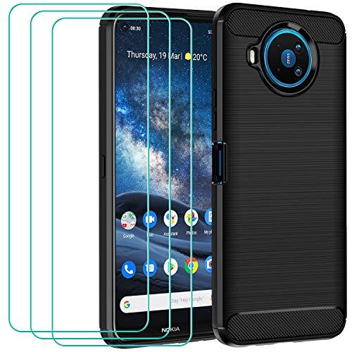 ivoler Hülle für Nokia 8.3 5G mit 3 Panzerglas Schutzfolie, Schwarz Stylisch Karbon Design Anti-Kratzer Handyhülle Stoßfest Schutzhülle Cover Weiche TPU Silikon Hülle