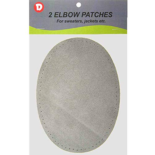 2 Large Sew-On Natural Suede Elbow Patches 4.75 in x 6.5 in - Grey