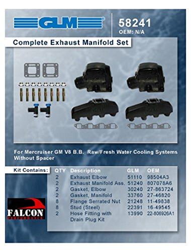 Mercruiser Marine 330 340 MIE Chevy 454 7.4 7.4L GLM Exhaust Manifolds+3' Risers