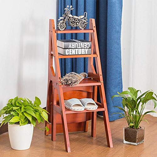 yjll Trapstoel, vouwladderkruk, multifunctionele creativiteit, dual use, rek van bamboe, bibliotheekkruk, in 3 kleuren
