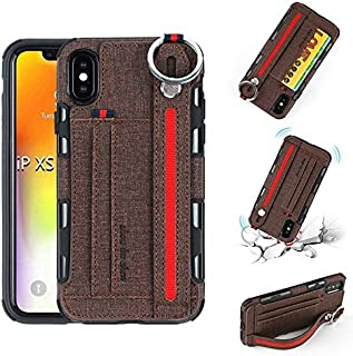 SHUANGRUIYUAN Fashion Wrist Band Canvas Cloth Texture Shockproof Protective Case with Card Slots & Holder for iPhone X/XS 5.8 inch (Color : Brown)