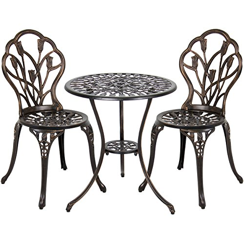 Best Choice Products 3-Piece Outdoor Rust-Resistant Cast Aluminum Patio Bistro Set w/Tulip Design, Copper