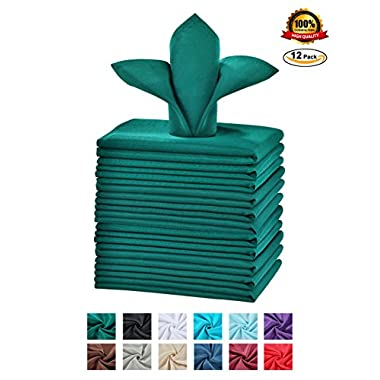 Cieltown Polyester Cloth Napkins 1-Dozen (17 x 17-Inch, Hunter Green)