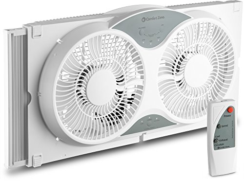 "BOVADO USA Twin Window Cooling Fan with Remote Control - Electronically Reversible – Includes Bug Screen & Fabric Cover – Locking Extenders to fit Large Windows (Min. 23.5"" Max. 37"") by Comfort Zone"