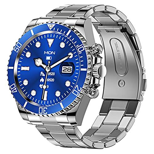 LWP 2021 Smart Watch Hombres Pantalla Táctil Completa Deportes Fitness Reloj De Acero Inoxidable Resistente Al Agua Bluetooth Adecuado para Android iOS Smart Watch Men,B