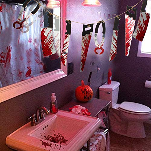 Alphatool 100 × 50 inches Halloween Bloodstained Handprints Table Cloth Table Cover+Realistic Bloody Butcher Knife Chainsaw Weapons Hanging Garland Props Banner for Halloween Party Haunted House Decor