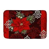 Boatee Red Christmas Flowers Design Soft Flannel Doormat Non-Slip Mat Indoor Outdoor Mat Doormat Entry Floor Mat Home Kitchen Rug