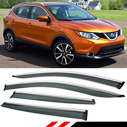 Fits for 2017-2019 Nissan Rogue Sport Window Visor Rain Guard Deflector with Chrome Trim
