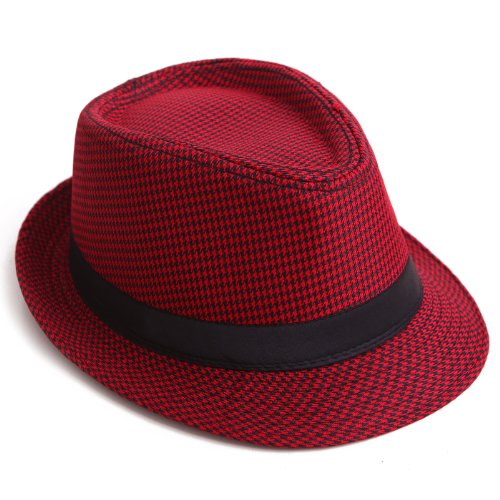 HDE Unisex Pattern Stingy Short Brim Gangster Cuban Style Fedora Hat Cap (Red Houndstooth)