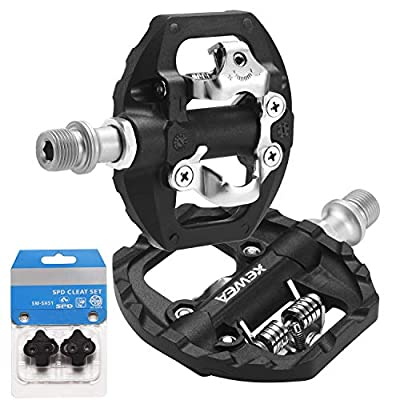 XEWEA MTB Bike Pedals Dual Platform Compatible with Shimano SPD Mountain Clipless Pedals,3-Sealed Bearing Non-Slip Lightweight Nylon Fiber Bicycle Platform Pedals for BMX MTB Spin Trekking Bike
