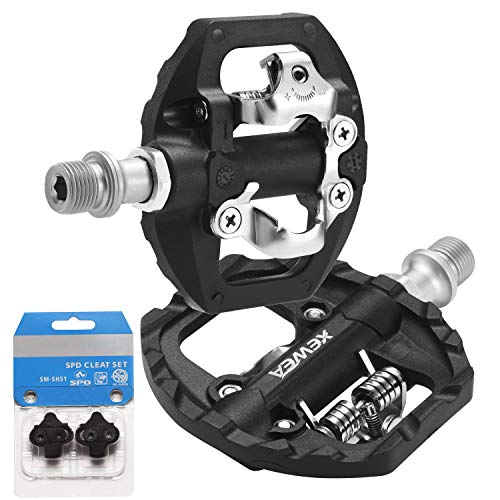 XEWEA MTB Bike Pedals Dual Platform Compatible with Shimano SPD Mountain Clipless Pedals3Sealed Bearing NonSlip Lightweight Nylon Fiber Bicycle Platform Pedals for BMX MTB Spin Trekking Bike