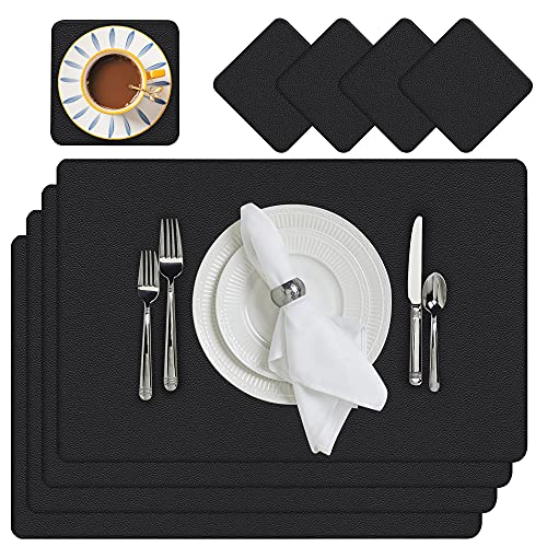 Placemats, Leather Placemats for Dining Table Set of 4 with Coasters Washable, Heat Resistant Faux Leather Table Place Mats Waterproof for Kitchen, 17.7 x 11.8 inch