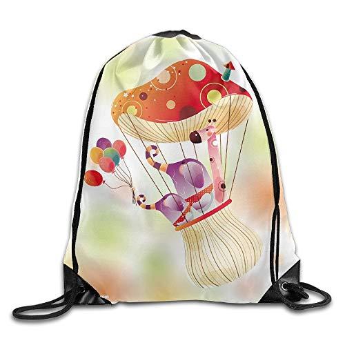 N/W Unisex Outdoor Rucksack mit Kordelzug, zum Grillen oder Kochen, Farben Pilze und Tiere, Unisex