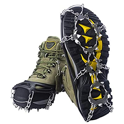 U UZOPI Traction Ice Cleat Crampons Snow Grips with 24 Anti-Slip Stainless Steel Spikes Safe Protect for Hiking Fishing Walking Climbing Jogging Mountaineering (Black, XL)