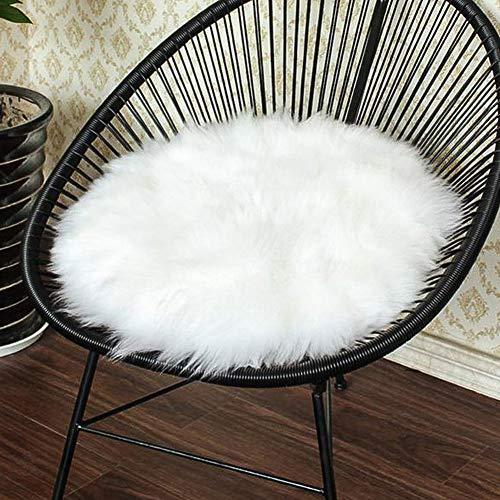 Xelparuc Premium Soft Round Fausse Fourrure en Peau de Mouton Coussin de Chaise Housse de Chaise en Peluche Zone Tapis pour Chambre à Coucher, 35,6 x 35,6 cm, Blanc