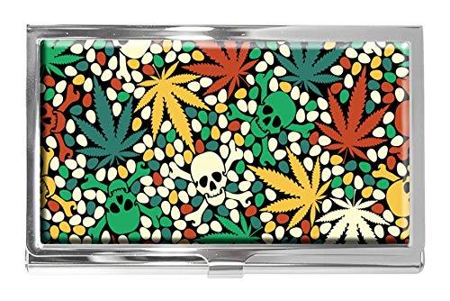 Tarjetero de Acero Inoxidable con diseño de Calaveras y Hojas de maryjuana