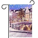 Bandera del jardín,decoración al aire libre de la granja de la bandera de la yarda Viejos casas holandeses del canal en Amsterdam Vertical 28x40 pulgadas