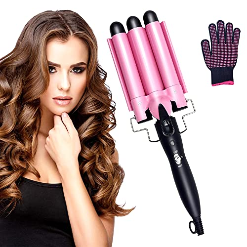 3 Barrel Curling Iron 25mm, 1-Inch Crimper Hair Iron Temperature Adjustable, Hair Crimper Ceramic Tourmaline Fast Heating Curling Wand with Heat Resistant Glove(Pink)