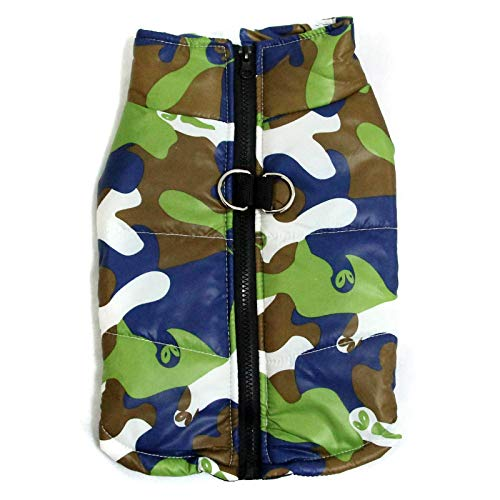 Pet Dog Clothes Winter thick Corgi camouflage cotton vest coat With Harness Hole Teddy Bichon French bulldog Pomeranian Chihuahua Schnauzer Puppy Dog padded clothes with Back Zipper for Small Dog