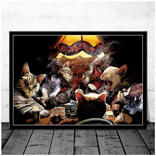 Canvas Schilderij Katten Honden Spelen Poker Grappige Comic Cartoon Moderne Poster Prints Art Muurfoto's Woonkamer Home Decor -60x90cm Geen Frame