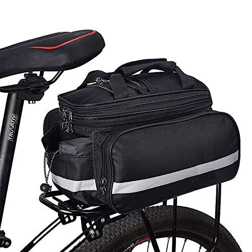 DASIAUTOEM Bolsa para bicicleta 3 en 1 multifunción, bolsa para el portaequipajes trasero, bolsa resistente a los desgarros, bolsa de alta capacidad, bolsa para bicicleta con correa para el hombro y asa