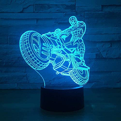 Creativo Spiderman Riding Motorcycle 3D Slide LED 3D Luz de noche USB 7 Cambio de color Luz de noche Lámpara de mesa táctil Decoración del hogar