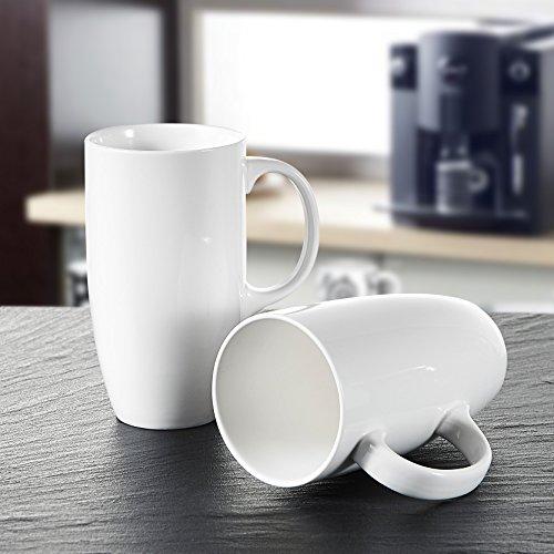 Panbado 2-teilig Große Kaffeetassen aus Weiß Porzellan, 550 ml Tassen Set, 5