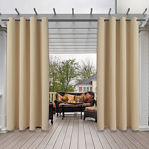 SHEEROOM Indoor/Outdoor Curtains for Patio, Beige, 52 x 84 inch - Thermal Insulated, UV Sun Light Blocking Waterproof Blackout Curtains for Bedroom, Living room, Porch, Cabana, Gazebo, Set of 2 Panels