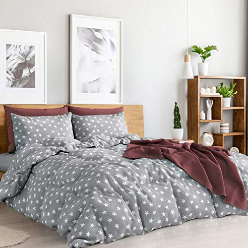 Duvet Cover Queen 4 Pieces Set Grey & White Stars Egyptian Cotton Deep Pocket Queen Sheets Light Grey Bedding Sets Queen Duvet Covers Soft Sheets Queen Size