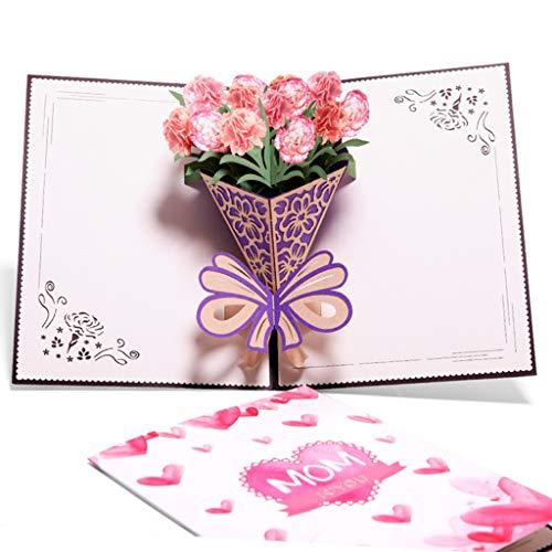 Amycute - Tarjeta de felicitación para el día de la madre en 3D, con sobre, tarjetas de agradecimiento para mamá