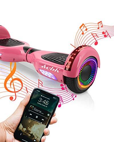 ACBK Bluetooth UL2272 Hoverboard, Juventud Unisex, Rosa, Rueda LED 6.5