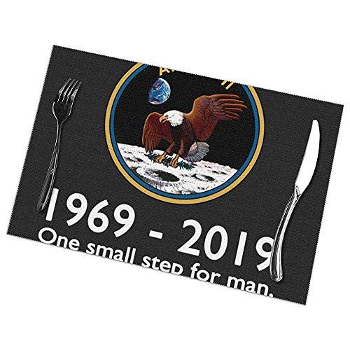 Set de Table Set De 6 Apollo 11 Moon Landing 50Th Y Mats Rectangulaires Table résistant à la chaleur 45 X 30 Cm