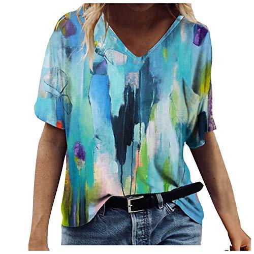 Tops Womens Casual Summer V-Neck T-Shirt Gradient Printed Blouse Short Sleeve Shirt Tunic Top,Womens Tops Blue