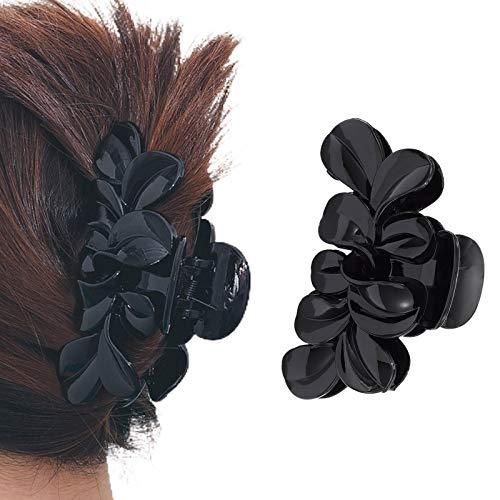 Runmi Haarklammer, schwarze Haarspangen, Kristall-Haarklammern, Haarspangen, Blumen-Haar-Accessoires für Frauen und Mädchen… (D)
