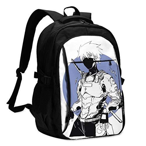 Anime NARUTO Uzumaki Naruto Mochila para portátil con carga USB y puerto para auriculares, para hombres y mujeres, bolsa grande y ligera para la escuela, el trabajo y los viajes.