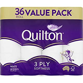 Quilton 3 Ply Toilet Tissue (180 Sheets per Roll, 11x10cm), Pack of 36 (B086H1V3YT)   Amazon price tracker / tracking, Amazon price history charts, Amazon price watches, Amazon price drop alerts