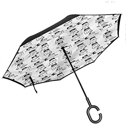 ETGeed Paraguas invertido Animal con Mango en Forma de C Plegado hacia atrás, Dibujos Animados de Gatito Monocromo