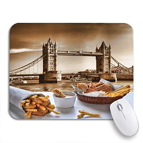 NA Gaming Mouse Pad British Fish and Chips Against Tower Bridge à Londres Tapis de Souris d'ordinateur en Caoutchouc antidérapant pour Ordinateurs Portables Tapis de Souris