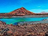 DFGJ Rompecabezas Naturaleza volcánica en el Parque Nacional de Timanfaya Cerca de la Costa del mar en Lanzarote, Islas Canarias, España 4000 Piezas (148 * 105cm)
