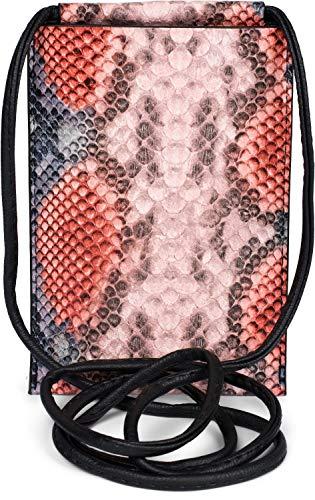 styleBREAKER Bolso de Bandolera para el móvil de Mujer en óptica de Piel de Serpiente, Bolso de Hombro, Bolso de Mano para el móvil, minibolso 02012306, Color:Coral-Rosa