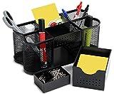 Amtido Desk Tidy Organiser Caddy, Office Supplies Holder, Pen, Pencil and Stationary Pot - Mesh Design - Black