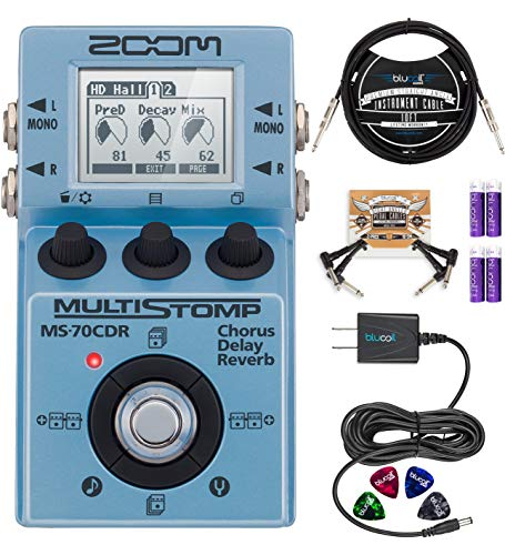 Zoom MS-70CDR MultiStomp Multi-Effects Pedal Bundle with Blucoil 9V AC Adapter, 10-FT Straight Instrument Cable (1/4in), 2-Pack of Pedal Patch Cables, 4x Guitar Picks, and 4 AA Batteries
