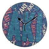 壁掛け時計 連続秒針 サイレント アナログ ウォールクロック 人気の名前 煌 AKI あき柄 掛け時計 インテリア [並行輸入品]