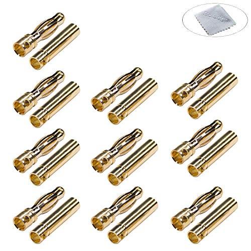 Boladge 10 Paar Vergoldete 4.0mm 4mm Bullet Männlich Buchse Bananenstecker Kugelstecker for RC Brushless Motor ESC