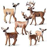Le yi Wang You 6er Pack Hirsch Figuren Kuchendeckel, Waldtiere Weißwedelhirsch Familie Figuren, Wald Kreatur REH Damhirschkuh Buck Spielzeug Home Party Dekoration