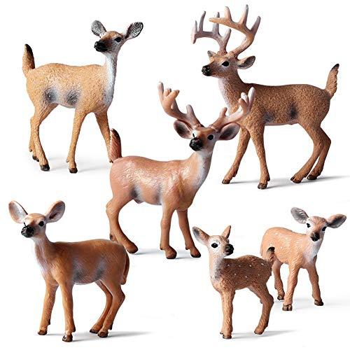 Luwsldirr 6Pcs/Set Simulation White-Tailed Deer Animal Model Christmas Home Decor Kids Toy