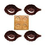 Cuencos Platos Aperitivos Salsas Cuencos de inmersión de plato de plato pequeño plato conjunto 4 paquetes con bandeja de bambú salsa de soja cuencos para la preparación de la cocina Postre Dips y tazo