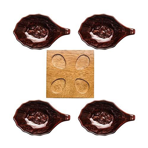 Cuencos Aperitivo Cuencos de inmersión de plato de plato pequeño plato conjunto 4 paquetes con bandeja de bambú salsa de soja cuencos para la preparación de la cocina Postre Dips y tazones de tuercas